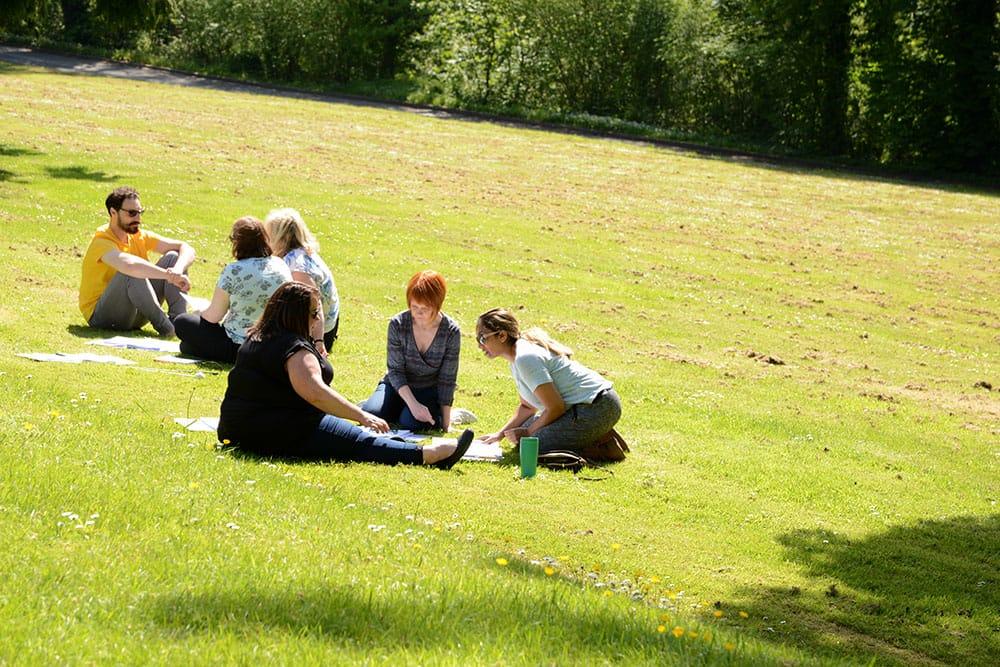 NLP training attendees enjoying the sunshine